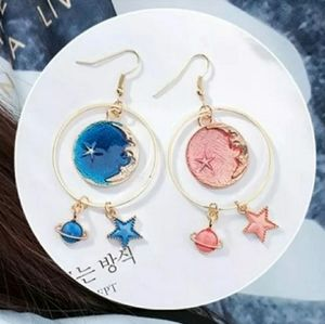 Moon star planet beach hoop korean earrings